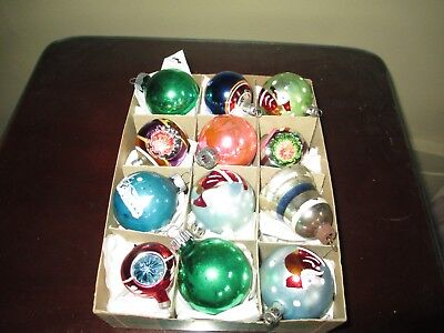 Small VINTAGE Shiny Brite Glass Tree Ornaments ~ Rare Shape ~ Nice Hand Painted