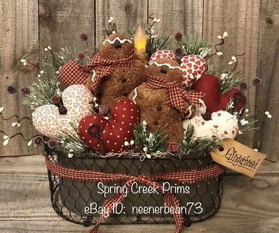 Primitive Handmade Spring Valentine Gingerbread Hearts Candle Decoration