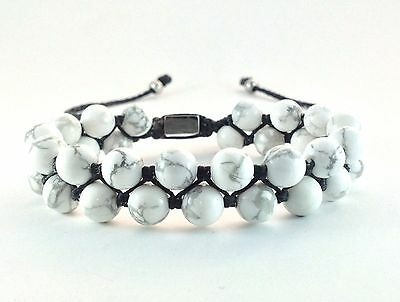 Mens Natural Howlite Gemstone Double Layer Bead Adjustable Jewelry Wrap Bracelet