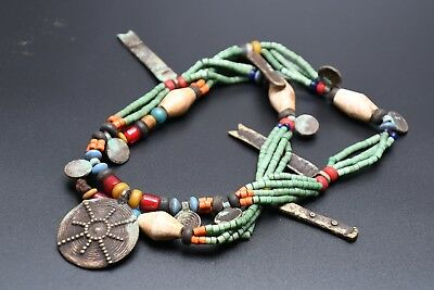 NAGA Necklace with Handmade Used Glass Beads, Shell Beads and Brass Pendants