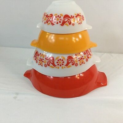 Pyrex Cinderella Mixing Bowl Set Friendship Birds Red Yellow Nesting Vintage