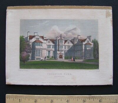 "Hand Colored engraving by W. Radcliffe 1831 Print - ""CONDOVER PARK""  3"" X 5"" +"