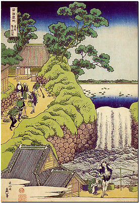 Waterfall by Hokusai Japanese Canvas Print Poster 8X12""