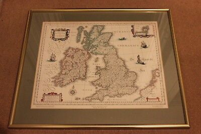 Antique Framed Print Map of Britain in 1635
