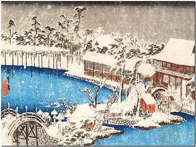 Winter scene Tokyo, Ando Hiroshige, Japanese Canvas Print Poster 8X12""