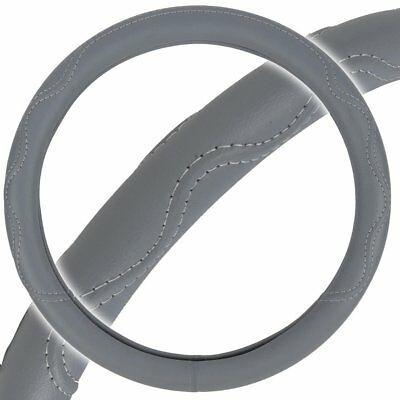 BDK SW-804-GR Gray   Leather Steering Wheel Cover - Fit All Standard Size
