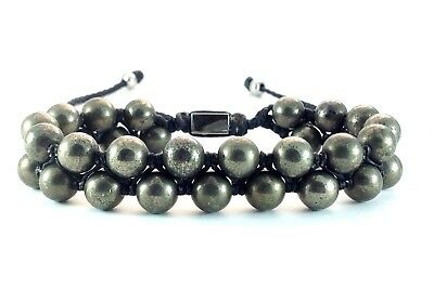 Men's Silver Pyrite Gemstone Double Layer Adjustable Beaded Jewelry Bracelet