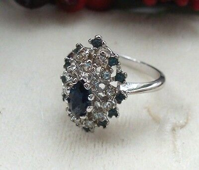 Sapphire Blue White Rhinestone Cluster Cocktail Costume Ring 9-9 1/2