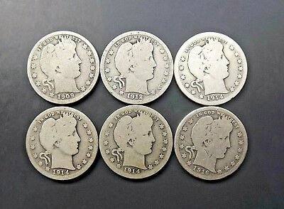 Lot of 6 Barber Quarters - Mixed Dates Circulated
