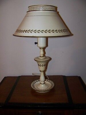 Vintage Toleware Metal Table Desk Lamp Creme Beige w/Gold Gilt  WORKS GREAT