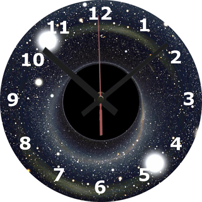 WALL CLOCK BLACK HOLE 25cm Space Time Gravity Science Home Universe Bedroom 22