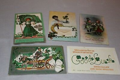 Lot of 5 Antique St Patty's Day postcards (some mailed, some unused)