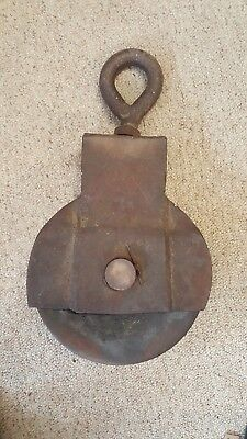 Large Antique Vintage Cast Iron Barn/ship Pulley Old Farm Tool Rustic Primitive