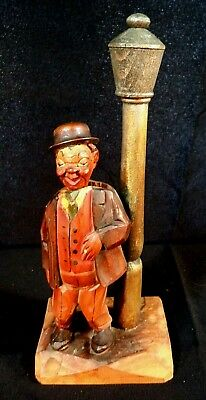 1960's ANRI ITALY DRUNK AT LAMPOST CARVED WOOD BAR SET Opener-Corkscrew