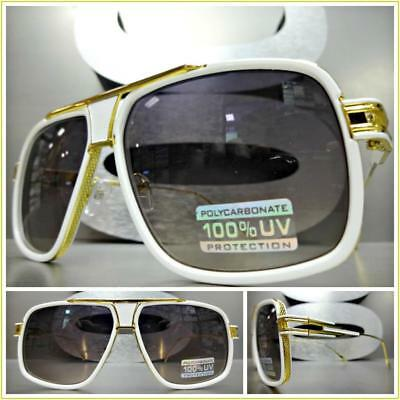 cf640a706af Men s Classic Luxury RETRO HIP HOP Style SUN GLASSES White   Gold Fashion  Frame