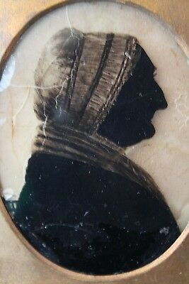 Antique Early 19th Century Silhouette Elderly Lady - Painted on Glass - Framed