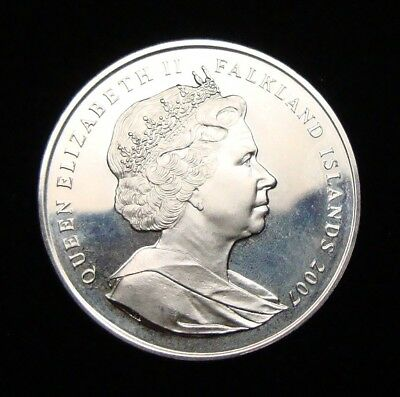 2007 Falkland Islands One Crown Diana Princess Of Wales Silver Cameo Proof Coin