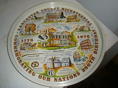 vintage Lancaster County Bicentennial 200th USA birthday 1976 metal tray