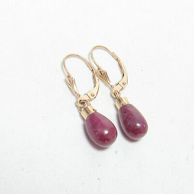 Estate 14K Yellow Gold Natural Cabochon Red Ruby Dangle Earrings 7.30 Cts