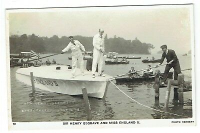 Cumbria postcard Sir Henry Seagrave and Miss England II Speedboat at Windermere