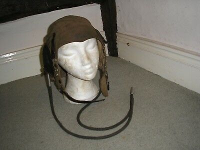 Rare WW2 1st pattern FAA D type tropical flying helmet with Gosport tubes