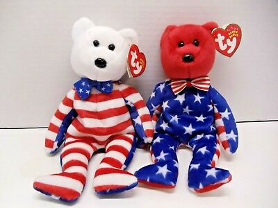 "TY Beanie Babies "" LIBERTY"" Set of  2 Red and White  MWMT"