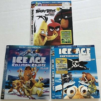 Bluray Slipcovers (Angry Birds, Ice Age Continental, Collision, NO DISCS) Cad