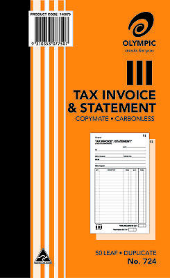 2 X Olympic No.724 Tax Invoice And Statement Book Carbonless Duplicate 200x125mm