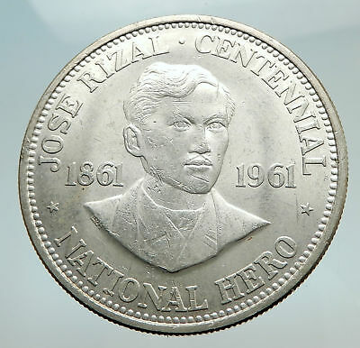 1961 PHILIPPINES with Jose Rizal Nationalist Antique Silver 1 Peso Coin i74492