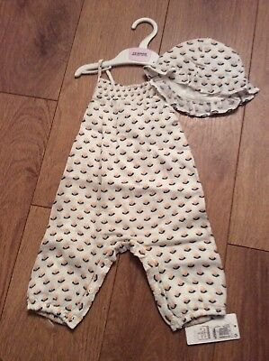 Girls Summer Dungarees And Hat Set Marks And Spencers Bnwt Size 3-6 Months