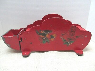 Vintage Cast Iron Tape Dispenser with Wood Rollers Red with Bird Transfers