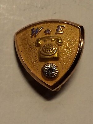 10K Gold Western Electric Service Pin W/ Diamond