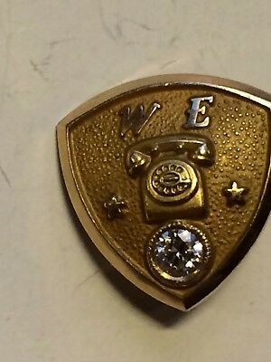 14K Gold Western Electric Service Pin W/ Diamond