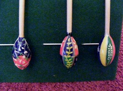 Wooden lacemaking bobbins.6Hand painted Faberge Egg Style, each one different
