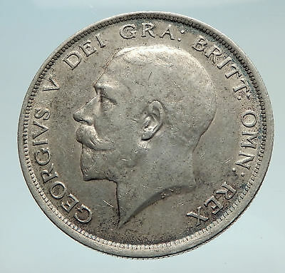 1918 Great Britain United Kingdom UK King GEORGE V Silver Half Crown Coin i74504