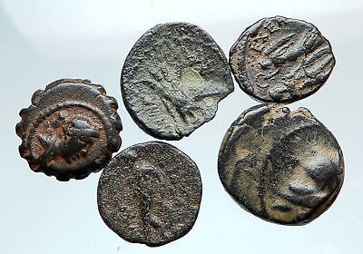 AUTHENTIC Ancient 400BC-250AD GREEK - 5 COINS Group Lot KIT Collection i74922