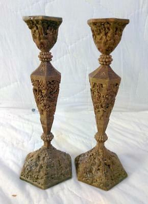 Old Antique Oriental Chinese Carved Wood Wooden Candlesticks Pair Set of Two 2