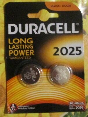 2 Piles  DURACELL bouton Lithium CR 2025  3V  DLC 2026 .NEUF