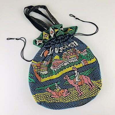 Vtg 60s 70s Plastic Beaded Drawstring Tourist Bag Jerusalem Purse Handbag