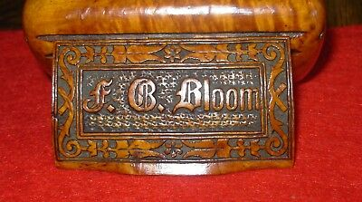 Small Antique Wooden Trinket Box-F.B. BLOOM-Hand Made-Folk Art-Awesome!