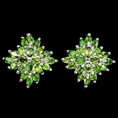 Unheated Marquise Cut 5x2.5mm Green Chrome Diopside 925 Sterling Silver Earrings