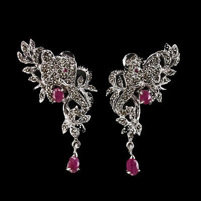 Elegant Oval Top Red Pink Ruby Marcasite 925 Sterling Silver Elephant Earrings