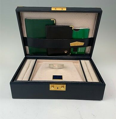 Luxurious Rolex Watch Gent's Navy Blue Leather Jewelry Box & Wallets