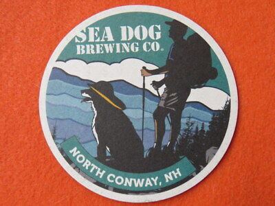 Beer Coaster ~ SEA DOG Brewing Co ~ North Conway, NEW HAMPSHIRE ~ Hiker & Dog