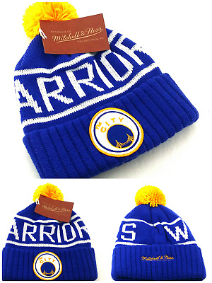 00b51051 Golden State Warriors New Mitchell & Ness Blue The City Knit Beanie Era Hat  Cap