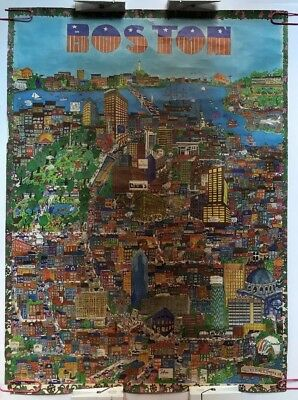 Boston Original Vintage Travel Poster City Collage Cityscape Drawing Pin-up 70's