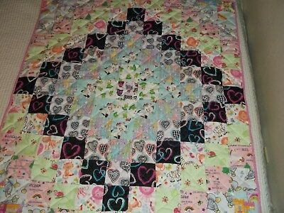 New Handmade Baby Girl Toddler Quilt Crib  Blanket Patchwork Unicorns Pink