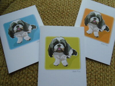 Set 6 Shih Tzu Dogs Stationery Greeting Notecards/ Envelopes By Paper Russels
