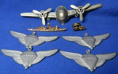 WWII AAF Bomber Plane, Navy Ship Pins, USMC Paratrooper Jump Wings Pendants
