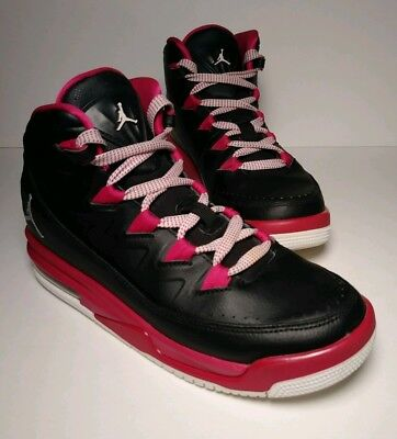 1066f7f136241b NIKE AIR JORDAN Girls Shoes Black Pink Lace Up Youth Size 5 Y Free ...